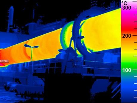 thermal image of a rotary kiln