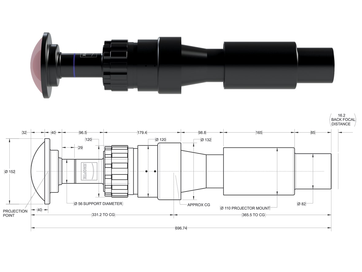 JL4K-4: Technical drawing of projection lens for giant screen solutions