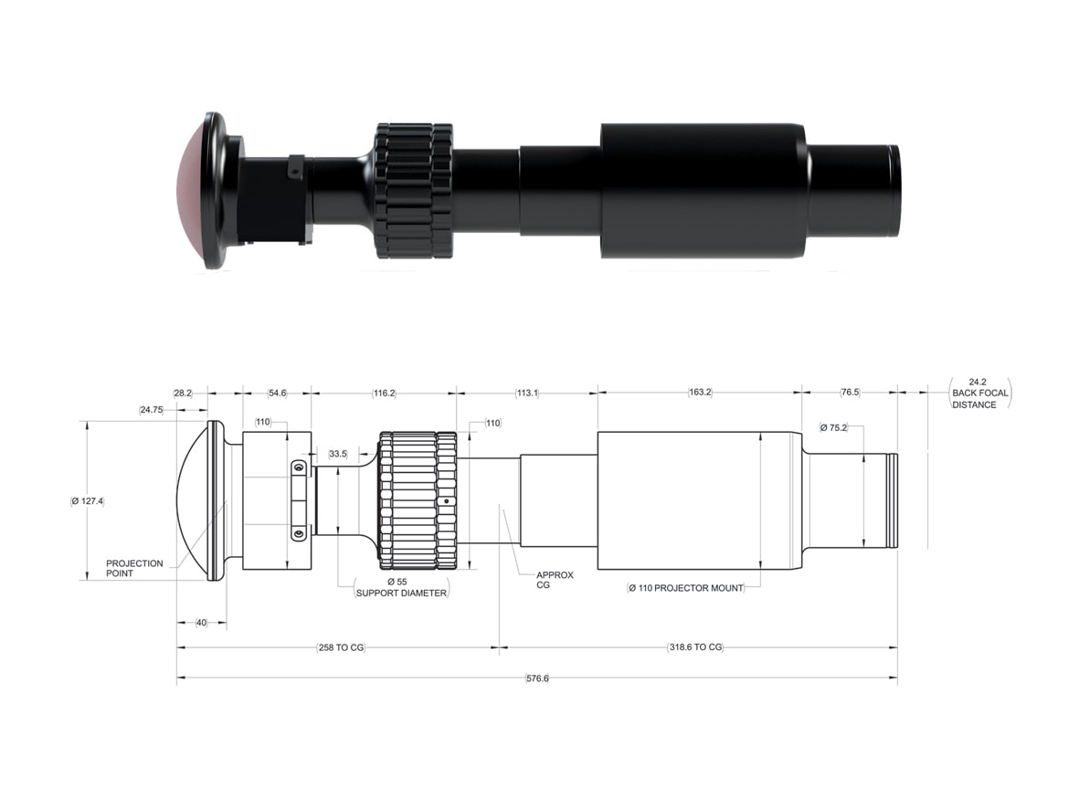 Technical drawing of JL4K-1 projection lens for entertainment
